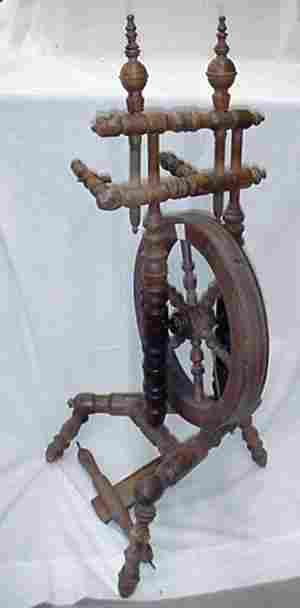 """Spinning wheel, 35"""" tall, old finish, m"""