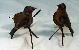 "Pair of 5"" folk art hand painted birds"