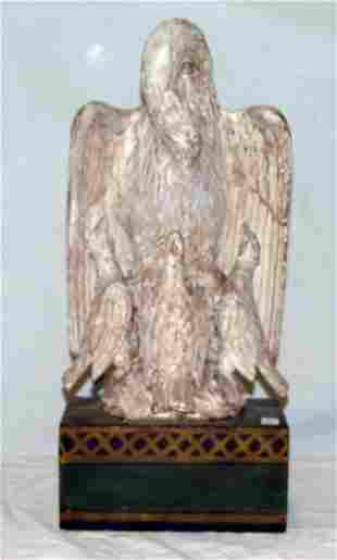 "19"" carved folk art eagle and babies on"