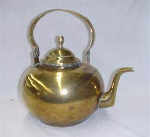 """Early brass tea kettle, 13"""", acorn fini"""