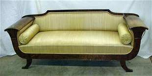 "Biedermeier style 89"" sofa, burl wood,"
