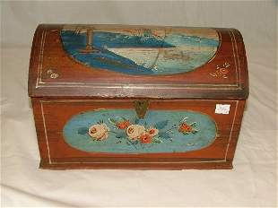 """13"""" dome top trinket box with house and"""