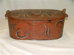 "22"" folk art decorated storage box with"