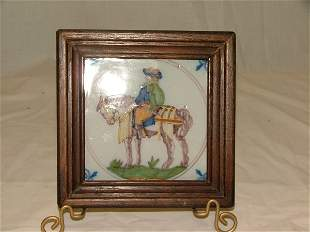 """4.5"""" faïence tile of horse and rider, g"""