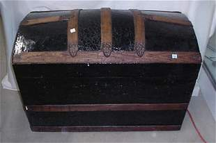 Oak and tin dome top trunk, repainted