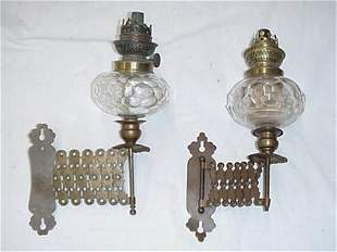 """Pair of 10.5"""" brass and glass parlor la"""