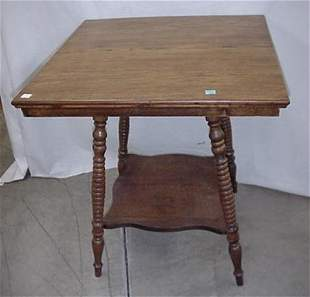 """Oak parlor table, 27"""" high and 24"""" wide"""