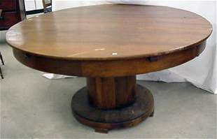"""58"""" round pedestal table, refinished, s"""