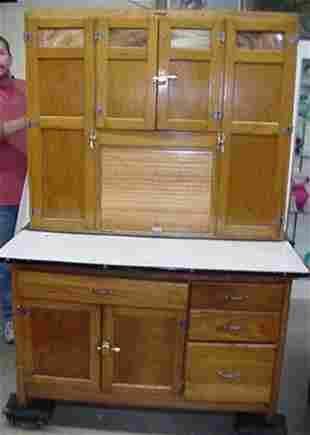 """Refinished oak seller's cabinet, 68"""" hi"""