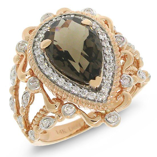 0.35ct Diamond & 2.88ct Smokey Topaz Two-tone Rose Ring