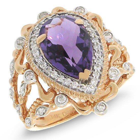 0.35ct Diamond & 3.04ct Amethyst Two-tone  Gold Ring