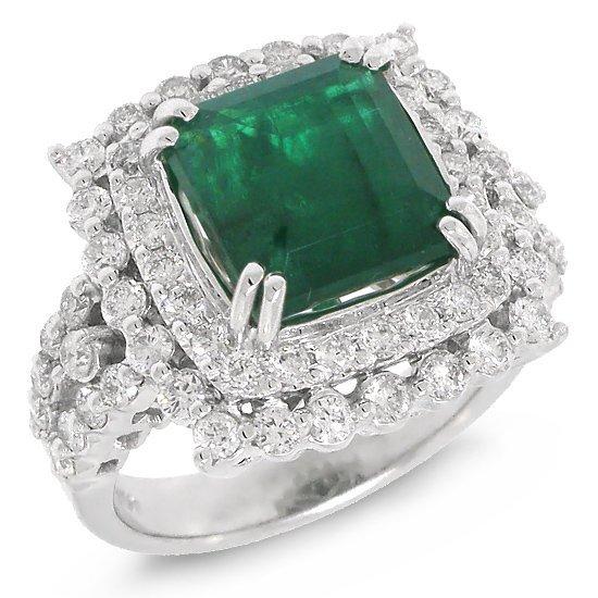 1.45ct Diamond & 4.43ct Emerald 18k White Gold Ring