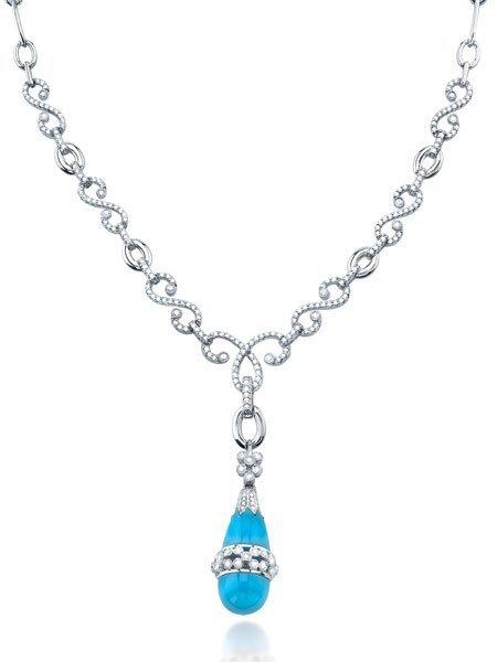 1.80ct 14k White Gold Diamond & Turquoise Necklace