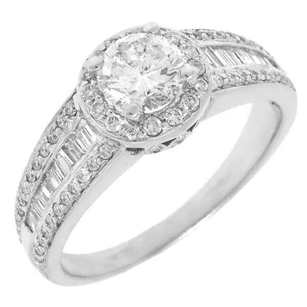 1.41ct 14k White Gold Round Diamond Engagement Ring