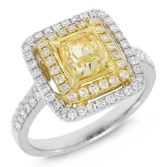 1.86ct  Cushion Cut Natural Fancy Diamond Ring