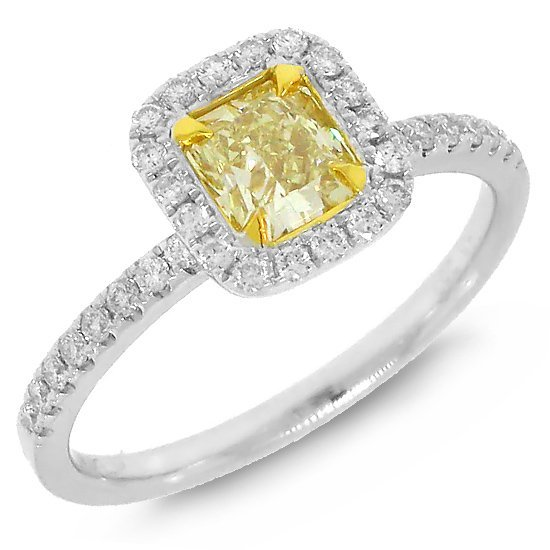 0.90ct  Radiant Cut Natural Fancy Diamond Ring