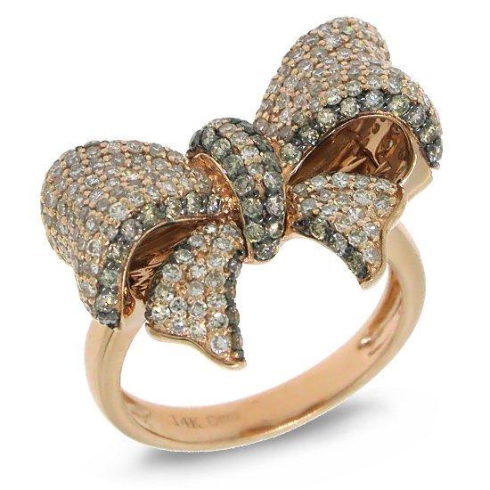 1.55ct  White & Champagne Diamond Ribbon Bow Ring