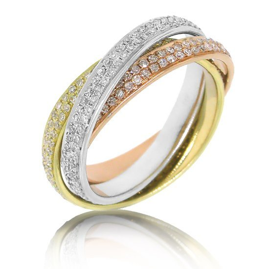 1.14ct 14k Three-tone Gold Diamond Eternity Ring 3-pc