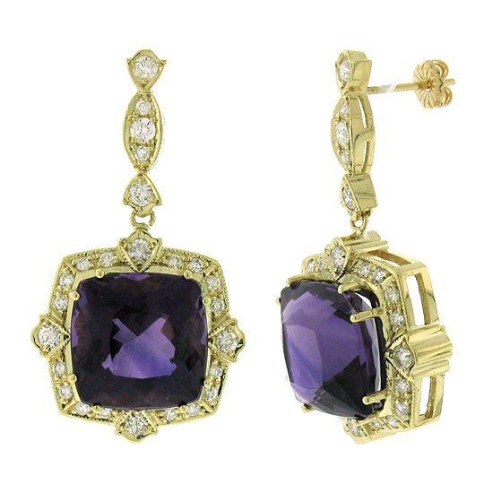 1.64ct Diamond & 23.27ct Amethyst Earrings