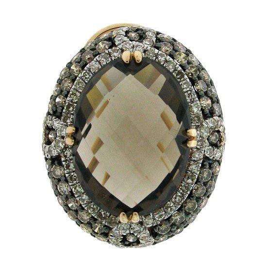 2.35ct Diamond & 14.73 Smokey Topaz Earrings