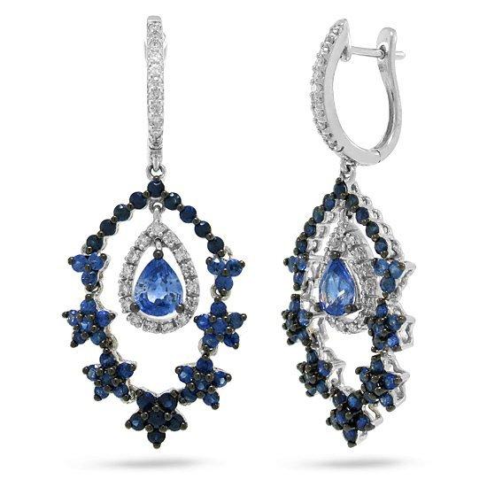 4.10ct Diamond & Sapphire Earrings