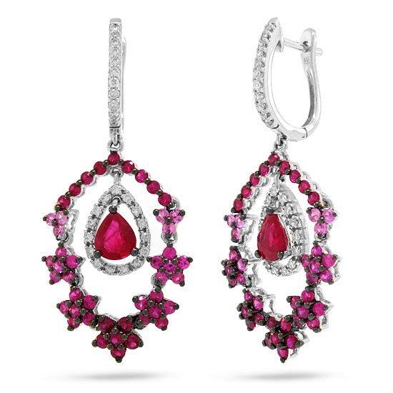 4.22ct Diamond, Sapphire, & Ruby Earrings