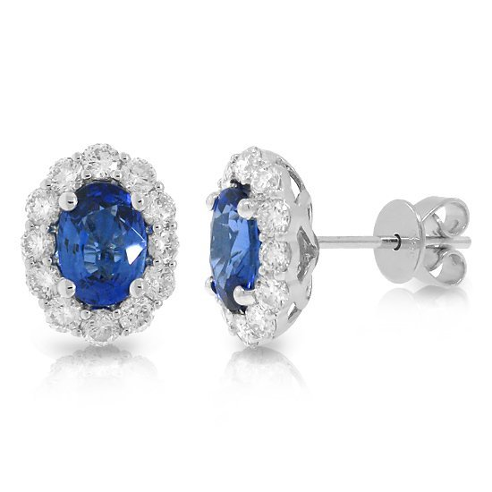 0.92ct Diamond & 2.16ct Blue Sapphire Earrings