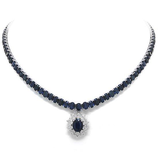 1.18ct Diamond & 46.18ct  Blue Ceylon Sapphire Necklace
