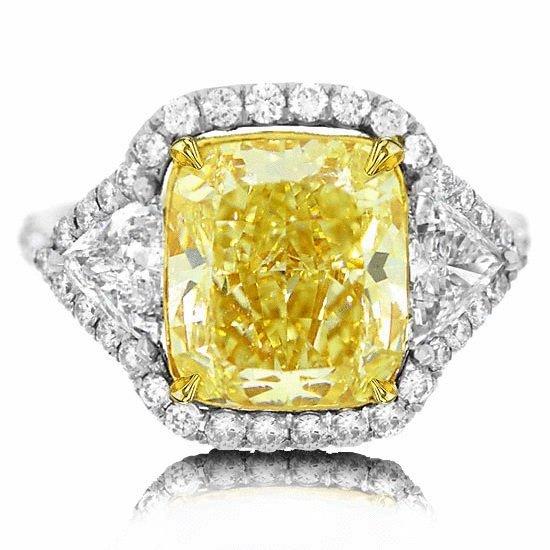 6.90 CCTW Fancy Yellow Diamond Ring in Platinum
