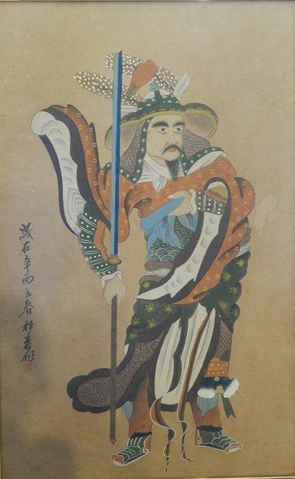 JAPANESE SAMURI PAINTING ON BOARD