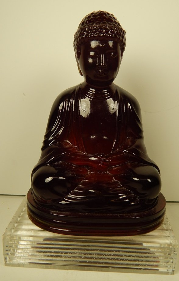 GILLINDER RED GLASS BUDDHA ON LUCITE BASE