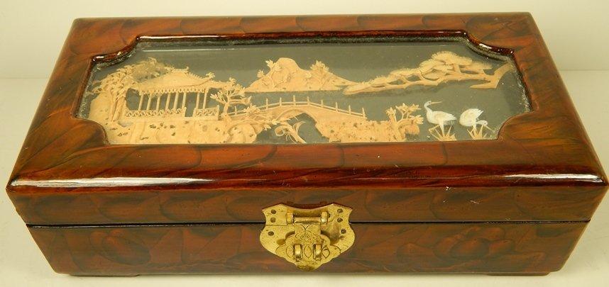 CHINESE BURLWOOD W/ CORK RELIEF JEWELRY BOX
