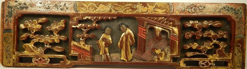 OLD CHINESE PAINTED WOOD RELIEF PLAQUE