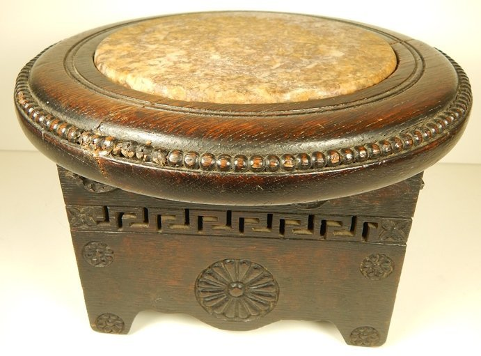 ANTIQUE 19TH C. CHINESE MARBLE TOP PEDISTAL