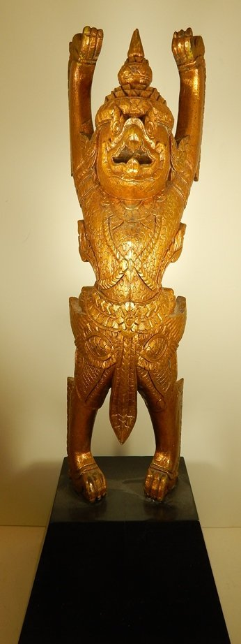 THAI CARVED WOOD GILDED WOOD CARVED STATUE ON BASE