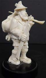 ANTIQUE IVORY GERMAN HUNTER FIGURINE