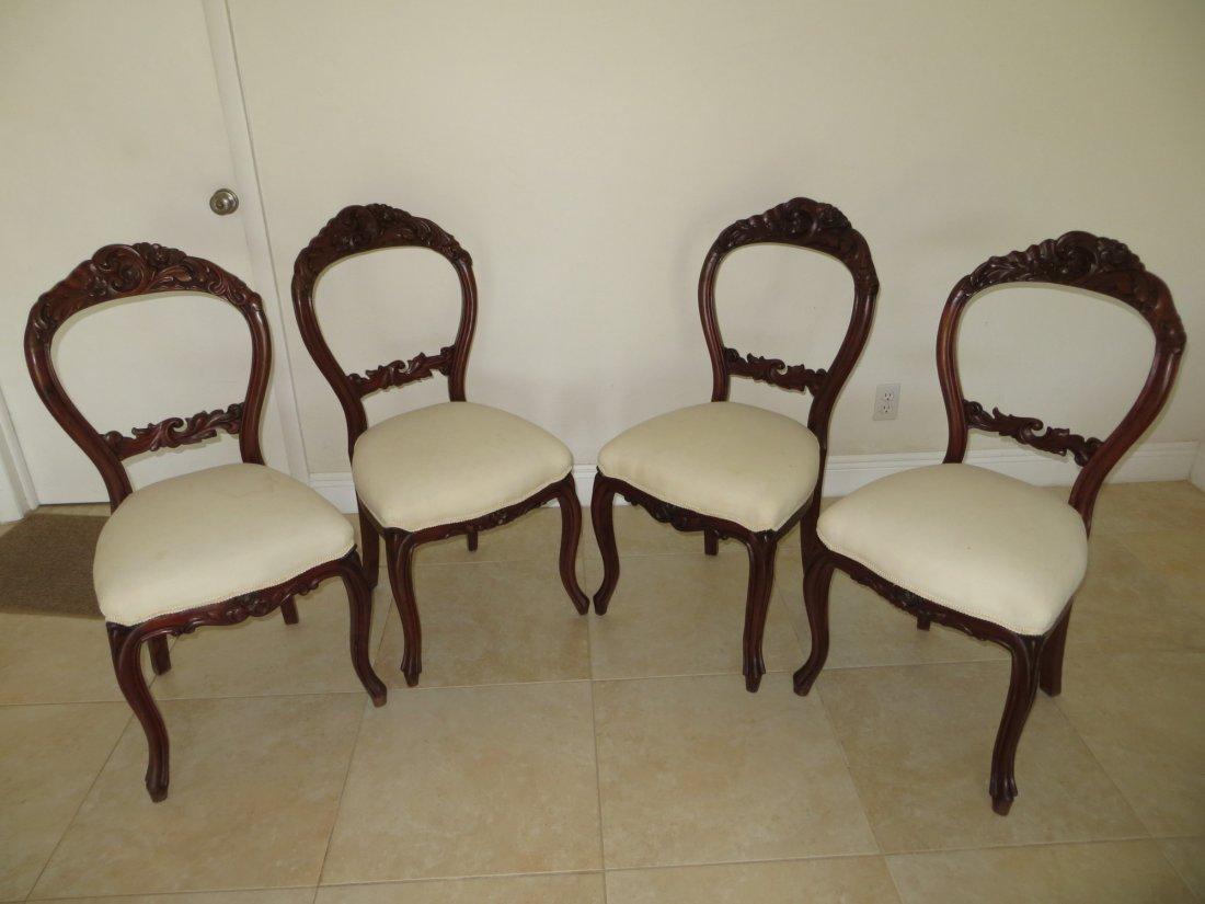 4 Mahogany Rococo Revival Balloon Chairs, 1860-1880