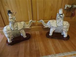 Two Japanese Ivory Elephants, late 19th C