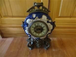 Round French Porcelain Mantel Clock c 1880-1900