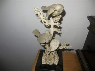 A Japanese Ivory Sculpture, Birds on a Gnarling Branch