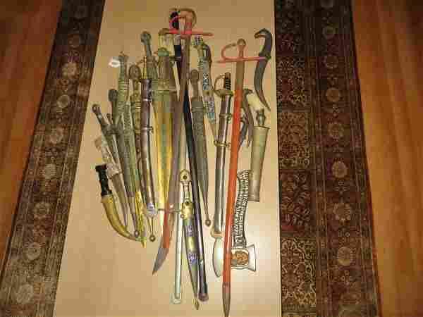 23 Swords and Daggers, Incl. Kindjals and Jambiyas