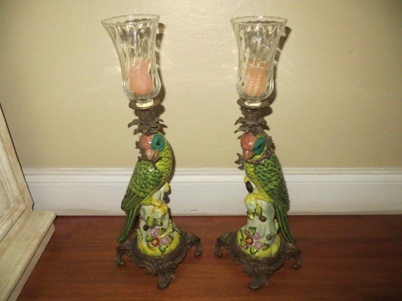 Bronze Scuptural Parrot Lamps