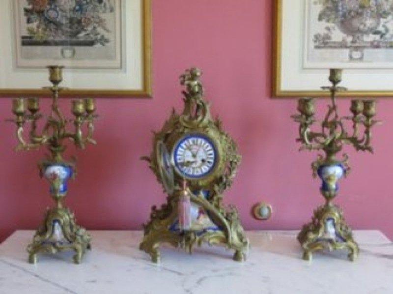 French Gilt Brass and Porcelain Clock Garniture