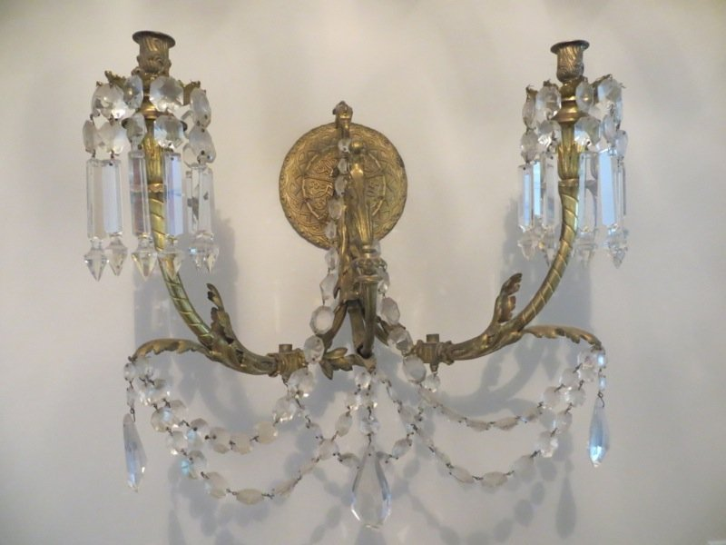 Pair of French Gilt Bronze & Crystal Candelabra Wall
