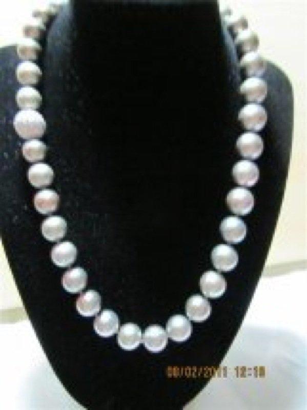 11.5-9mm Genuine Tahitian Pearls, 2.2ct Diamond Clasp