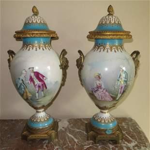 Pair of Sevres Porcelain Urns, 1774