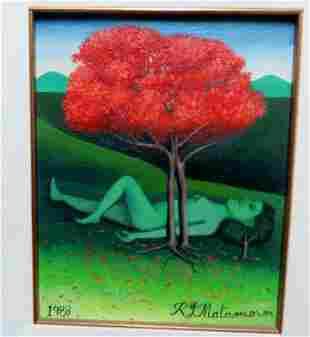 Jay Matamoros (Cuba 1912) Ella y el flamboyan, 1988
