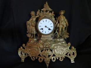 French Gilt Metal Figural Hunting Scene Mantle Clock