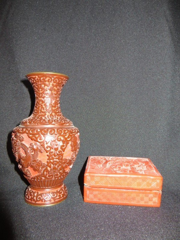 Chinese Carved Red Cinnabar Vase and Box
