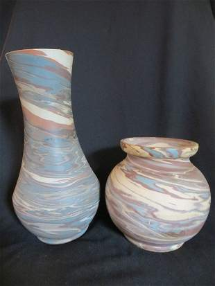 Mission Ware Swirl Vase by Niloak, and Another
